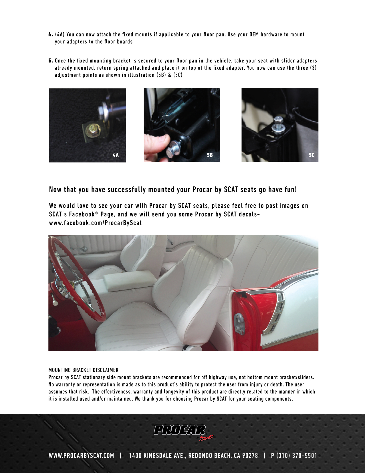 Procar by SCAT Seat Installation Instructions | Procar by SCAT
